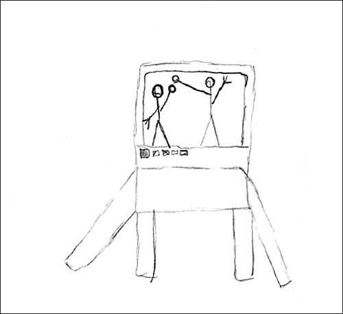 Agata's drawing (to shoot a video of a song and show it on TV)