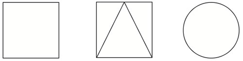 Complete orientation: square, square with triangle and circle
