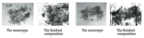 Examples of monotypes and finished compositions