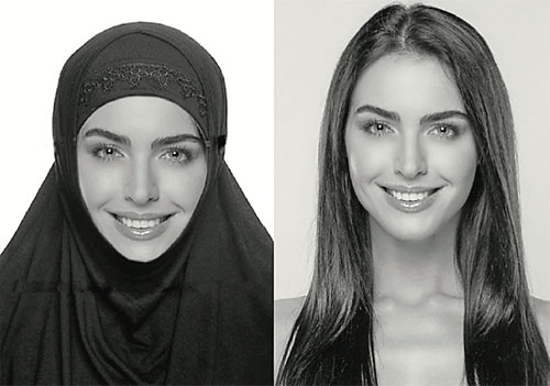 Example of a photo of a girl with a hijab and without
